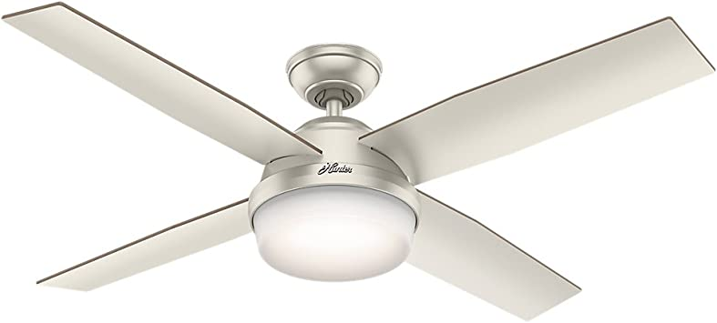 Hunter 59450 Indoor Outdoor Ceiling Fan With Led Light And Remote Control 52 Matte Nickel Amazon Com
