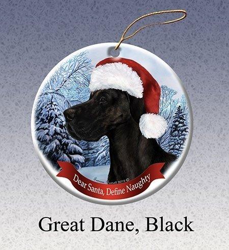 Cheyan Unique Designed Uncropped Black Great Dane Porcelain Hanging Ornament