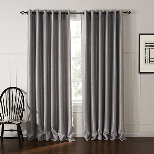 Cheap MICHELE HOME FASHION Modern Fancy Silver Solid Floral Embossed Grommet Top Lined Blackout Window Treatment Draperies & Curtains Panels 100″ W x 102″ L (Set of 2 panels) Multi Custom