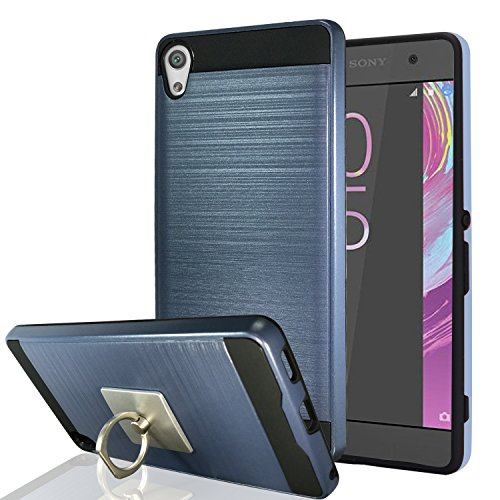 Xperia XA Case With Phone Stand,Ymhxcy [Metal Brushed Texture] Hybrid Dual Layer Full-Body Shockproof Protective Cover Shell For Sony Xperia X A 2016-LS Metal Slate