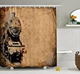 Ambesonne Steam Engine Shower Curtain Set, Antique Old Iron Train Aged Sepia Grunge Style Design Industrial Theme Artsy Print, Fabric Bathroom Decor with Hooks, 84 Inches Extra Long, Brown