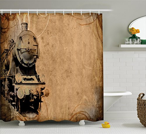 Antique Easter Decorations - Ambesonne Steam Engine Shower Curtain Set, Antique Old Iron Train Aged Sepia Grunge Style Design Industrial Theme Artsy Print, Fabric Bathroom Decor with Hooks, 70 Inches, Brown