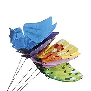 ohtop 1pieza colorido hada mariposa sobre Stick adorno hogar jardín jarrón césped Craft Decor