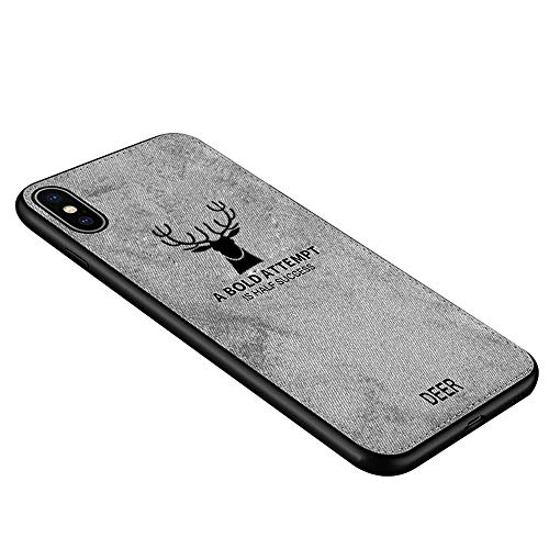 Phone case,Cloth Textured Mobile Phone TPU Case Shockproof Back for iPXs Max Mobile Phone (Grey)