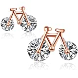 Sterling Silver Simple Bicycle Cubic Zirconia Studs Earrings For Women Girls