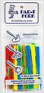 Soodhalter Par-T-Fork (12 Pack), 3.25 Inch Plastic Cocktail Forks