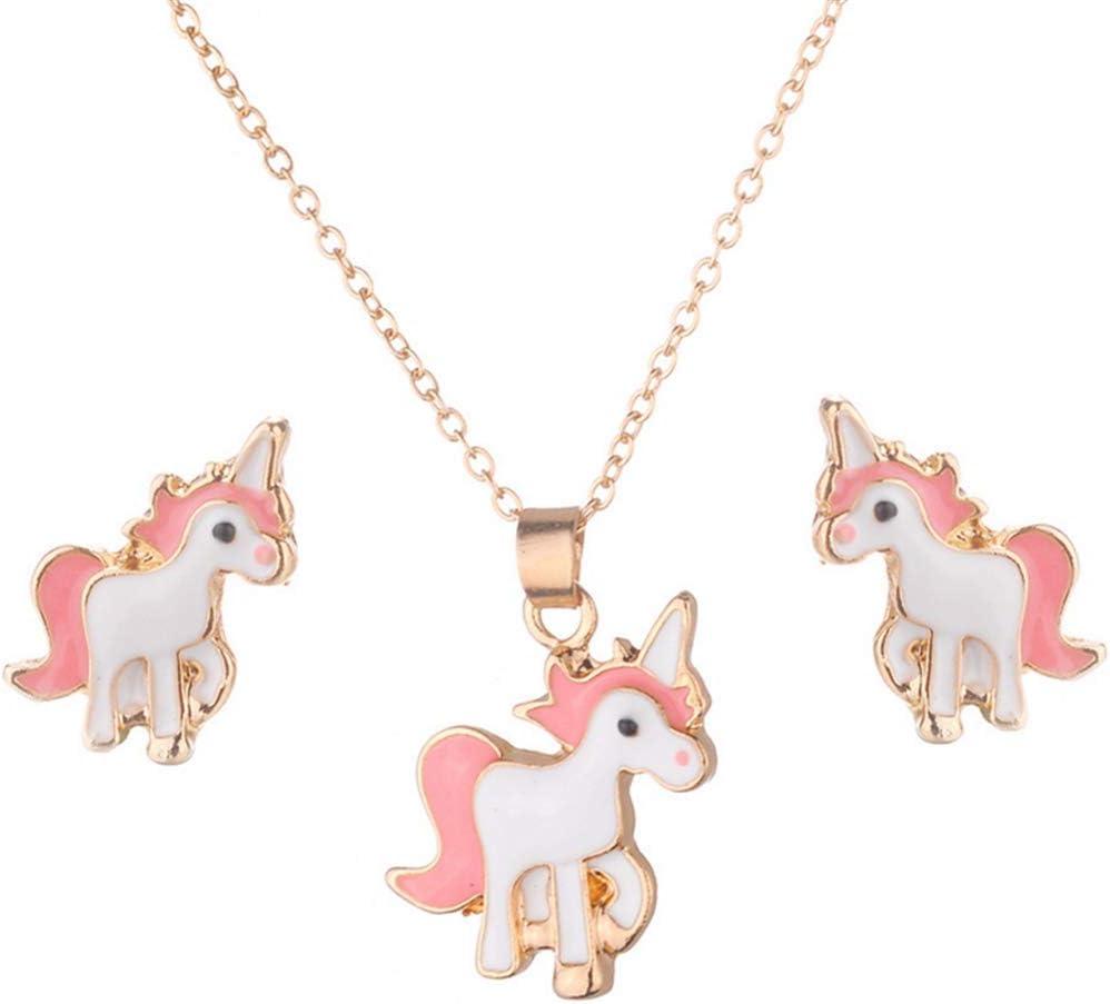 Cngstar Unicorn Shaped Jewelry Set Pendant Necklace Earring Rhinestone Crystal Women Gift Set