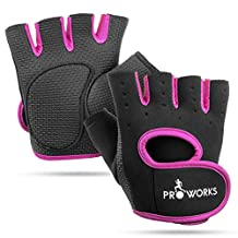 Proworks Women's Padded Grip Fingerless Gym Gloves for Weight Lifting, Cross Training, Exercise Bikes & More – Black with Pink Trim (Small)