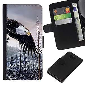 KingStore / Leather Etui en cuir / Samsung ALPHA G850 / Silvestre águila calva americana de Alaska