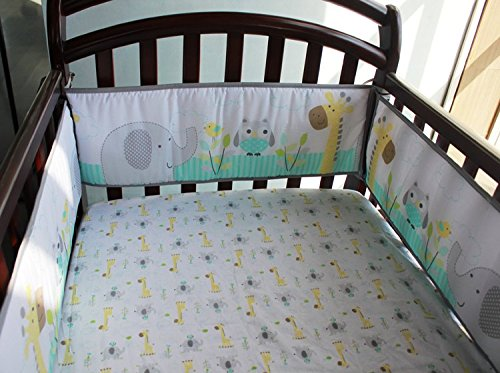 NAUGHTYBOSS Baby Bedding Set Cotton 3D Embroidery Owl Elephant Giraffe Quilt Bumper Bed Skirt Mattress Cover 7 Pieces Multicolor by NAUGHTYBOSS (Image #4)