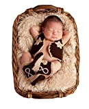 Baby Handmade Crochet Knit Cowboy Hat Boots Photography Prop Costume Set (Style 1)