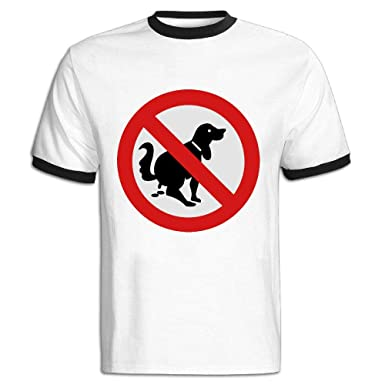 Amazon com: JACKJOM NO Dog Poop Sign Hit Color T Shirt for
