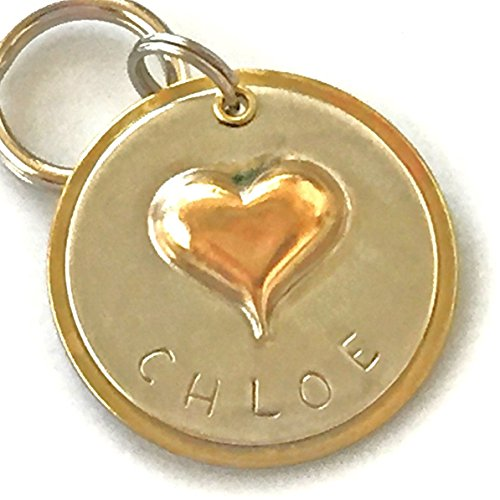Personalized Pet ID Tag - Chloe - Puffy Heart by Claude's Paws