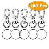 Paxcoo 100 Pcs Metal Swivel Lanyard Snap Hook with Key Rings (Small Size)