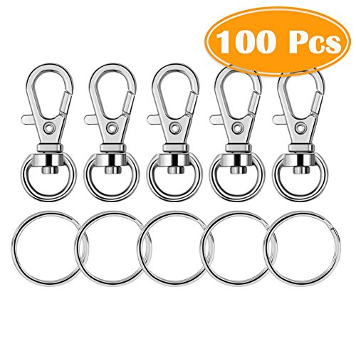 Paxcoo 100 Pcs Metal Swivel Lanyard Snap Hook with Key Rings (Small -