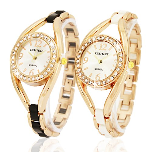 ThaiTime 2pcs New Pretty Woman Girls Elegant Quartz Wrist Watch by THAITIME