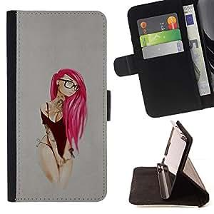 Momo Phone Case / Flip Funda de Cuero Case Cover - Pink Emo Hair;;;;;;;; - Samsung Galaxy S6 EDGE