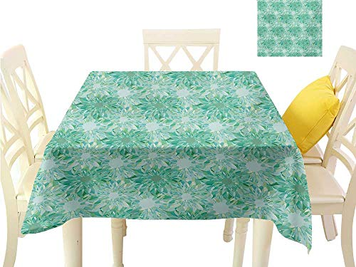 (familytaste Table Cover Turquoise,Floral Pattern with Beryl Crystal Guilloche Flowers Carving Art Elements Image Print,Green Tablecloth Party Wedding W 60