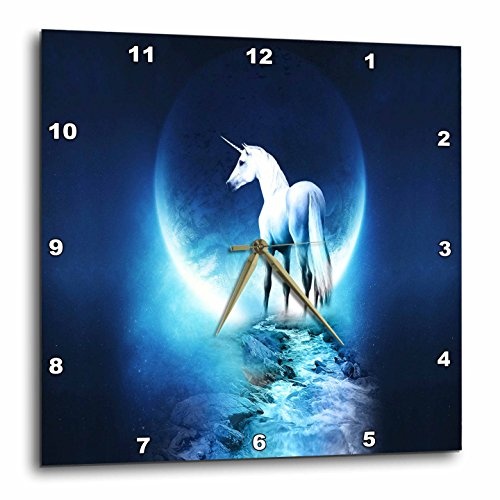 Cheap 3dRose dpp_54188_2 White Unicorn in Front of Full Moon Wall Clock, 13 by 13-Inch