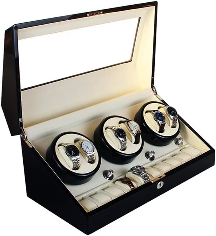 腕時計自動巻き上げ器 ウォッチワインダー, 5モード切替, 6+10 腕時計収納ボックス (Color : Black)