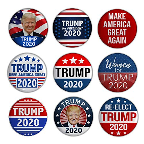 - Elephield 2 1/4 inch President Trump 2020 Elections Campaign Support Pin Buttons Pack of 9, Set A