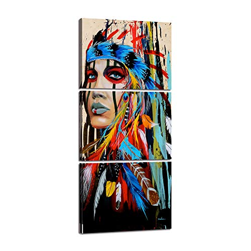 3 Pieces Native American Canvas Painting for Living Room Indian Girl Warrior Feathered Women Chief Wall Art Picrure Fighting Buffalo Print Poster Artwork Home Office Bedroom Framed Decor(16''Wx36''H)