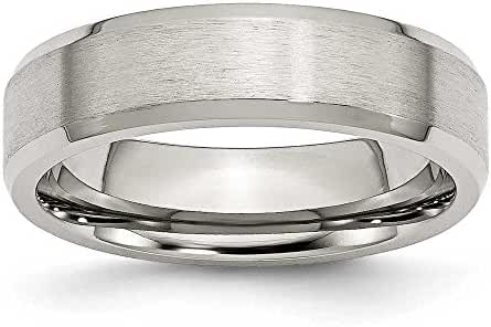 Chisel Beveled Edge Brushed and Polished Flat Stainless Steel Ring (6.0 mm) - Sizes 6-13