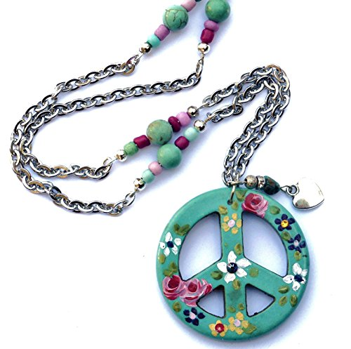 Long Boho Peace Sign Necklace with Hand Painted Flowers & Genuine Turquoise Nugget and Magnesite Beads Hand Painted Flower Beads