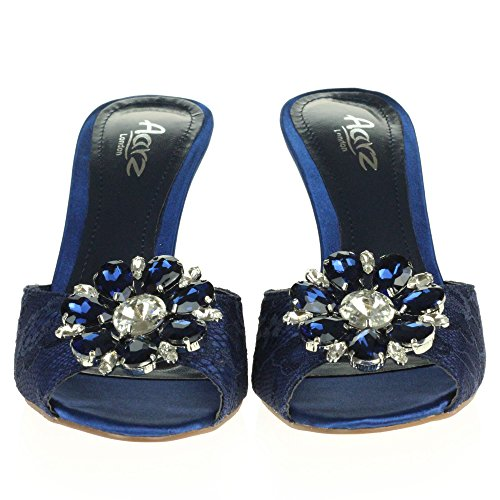 Zapatos Fiesta Cristal de Armada tama Se oras Nupcial o Heel Paseo Kitten Peeptoe Diamante Sandalias Mujer Noche Bodas 46Fww