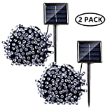 LiyuanQ 2 Pack Solar String Lights, 8 Modes Solar Powered Xmas Outdoor String Lights Waterproof Starry LED Fairy Lights for Indoor/Outdoor Gardens Homes Wedding Holiday Party (Cool White)