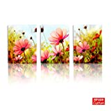 BPAGO Plateau Gesang Flowers Canvas Painting Modern Giclee Scene Canvas Painting Stretched on the Canvas Wood Framed Inside for New House Art Work Home Decoration & bathroom Decor(12x16inch x3pcs)