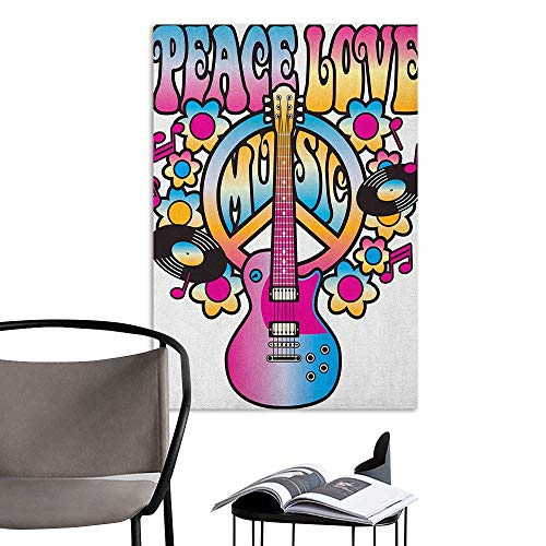 Alexandear Wall Art Canvas Prints Groovy Peace Love Music Text with Peace Symbol Guitar Records Flowers Musical Notes Blue Pink Yellow School Dormitory Classroom W24 x ()