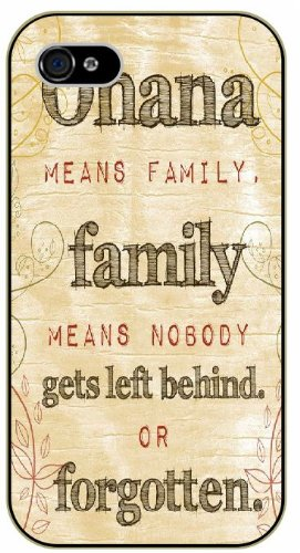 Ohana means family, family means nobody gets left behind or forgotten - Inspired by Lilo And Stitch - iPhone 4 / 4s black plastic case / Inspiration Walt Disney quotes