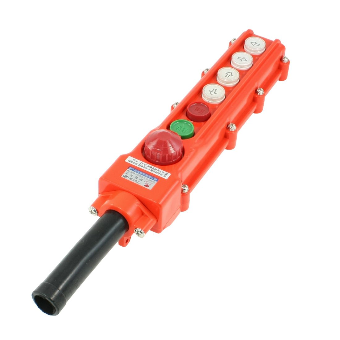 uxcell Rain Proof Hoist Crane Pendant Pushbutton Switch 4 Ways Emergency Stop COB 63BH