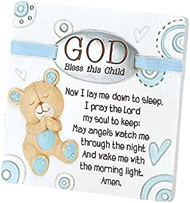 White Dicksons Baby Bear God Bless This Child Tabletop Plaque for Boy