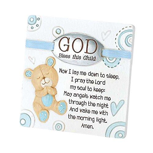 Dicksons Baby Bear God Bless This Child Tabletop Plaque for Boy, - Descending Bear