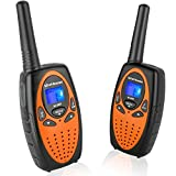 Walkie Talkies with Vox Mic Clip 22 Channels, Wishouse Cruise Two Way Radio for Adults with LCD Screen Long Mile Range Noise Cancelling Loud Speaker Wakie-Talkie for Outdoor Games (M880 Orange 2 Pack)