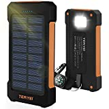 Solar Phone Charger 15000mAH Teryei Solar USB Charger Waterproof Solar Power bank With Panel External Dual USB Backpack with Compass for Android iPhone iPad Samsung Cellphones (Orange)