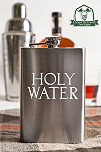 Holy Water Typography 8 Ounce Stainless Steel Flask