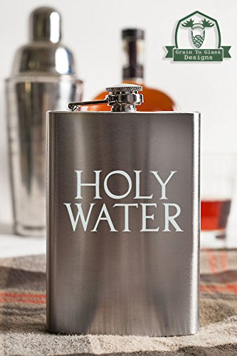 Holy Water Typography 8 Ounce Stainless Steel Flask]()