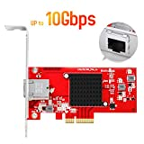 EDUP 10Gb Gigabit Ethernet PCI-E Network Controller Card with Heat Sink 1G/2.5G/5G/10Gbps RJ45 LAN Adapter PCI Express Converter Network Card for Desktop PC with Windows 10/8.1/8 /7 (Color: Red)