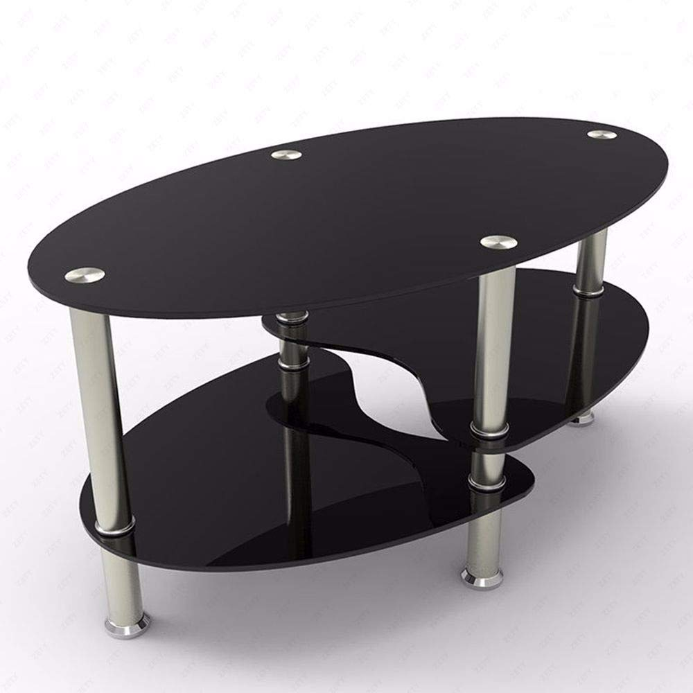 Pro-G Glass Coffee Table Oval Side Table Shelf Stainless Steel Bars Chrome Base Living Room 10 mm