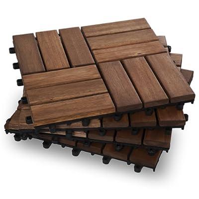 Garden Winds DT02-GY Twelve Slat Deck Tiles, Contemporary, 10 Count