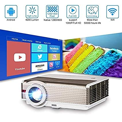 LCD Inalámbrico Video Proyector con WiFi, 5000 Lumen Soporta Full HD 1080P Bluetooth LED Película Proyector con Smartphone, Computadora Portátil, Fire ...