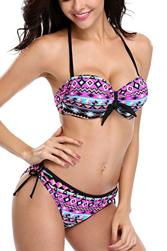- Sociala Womens Bikini Set Two Piece Swimsuits Push Up Bathing Suits Swimwears Size 2XL