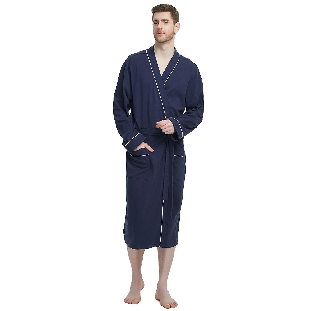 M&M Mymoon Men's Kimono Robe Long Comfy Bathrobe Cotton Loungewear Spa Cloth Robe (Navy Blue, L/XL)