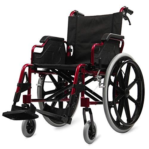 PAP Ligero, Silla de Ruedas Plegable, Conduccion Medica, Aleacion de Aluminio, Silla de Ruedas, Ancianos, Viajes, Obesos, Discapacitados, Ancianos, Multiples Funciones, Empuje de Mano Scooter, Roj