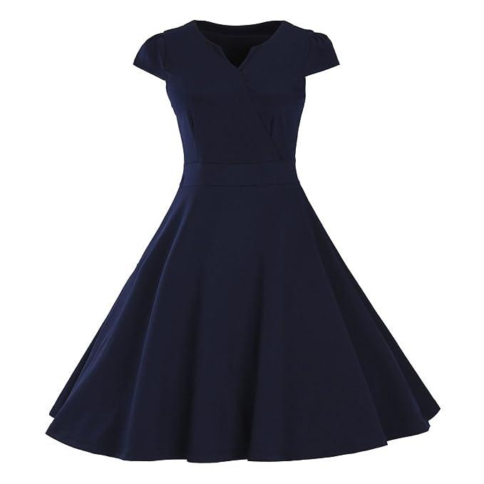 LINNUO Swing Vestidos de Noche Mangas Corta Retro Audrey Hepburn Estilo V Collar Pin Up Vestido: Amazon.es: Ropa y accesorios