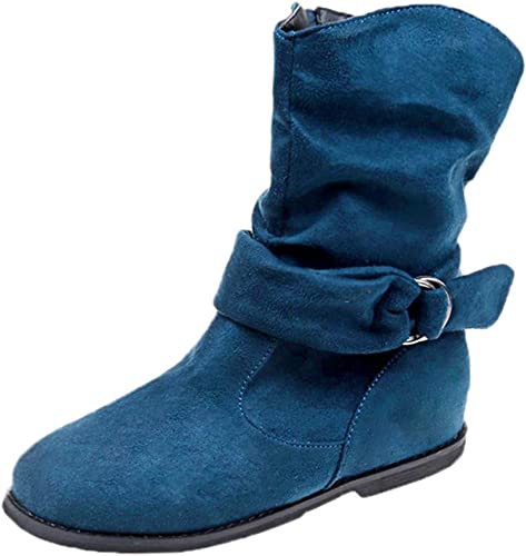 Womens Mid-Calf Boots Add Fur Coarse Block High Heels Slip on Shoes Fashion Suede Round Head