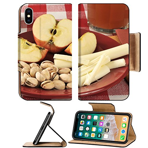MSD Premium Apple iPhone X Flip Pu Leather Wallet Case IMAGE ID: 27886951 a healthy snack with pistachios string cheese apples and a glass of - California Pistachio Fruit